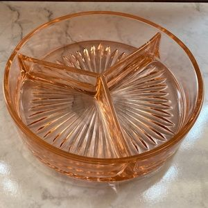 Depression Glass Pink Trinket Dish Vanity Tray